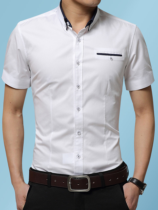 Men's Solid Colored Shirt Basic Casual / Daily Wine / White / Blushing Pink / Khaki / Royal Blue / Navy Blue / Gray / Light Blue