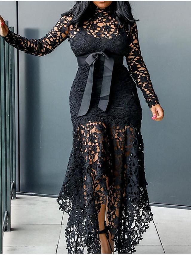 Mujer Tallas Grandes Elegante Ilusion Vaina Vestido Encaje Transparente Un Color Asimetrico Escote Chino 7544025 2020 45 09