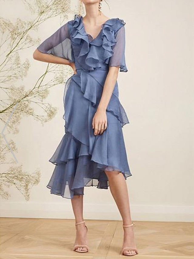 A-Line Elegant Open Back Holiday Cocktail Party Dress V Neck Short Sleeve Asymmetrical Chiffon with Pleats Cascading Ruffles 2020