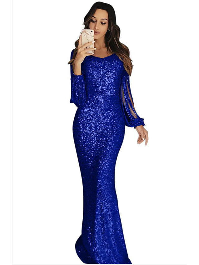 Sheath / Column Sparkle Blue Party Wear Formal Evening Dress Jewel Neck Long Sleeve Sweep / Brush Train Sequined with Sequin 2020