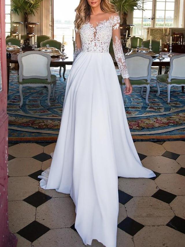 A-Line Wedding Dresses V Neck Sweep / Brush Train Chiffon Lace Long Sleeve Romantic Illusion Sleeve with Beading 2021