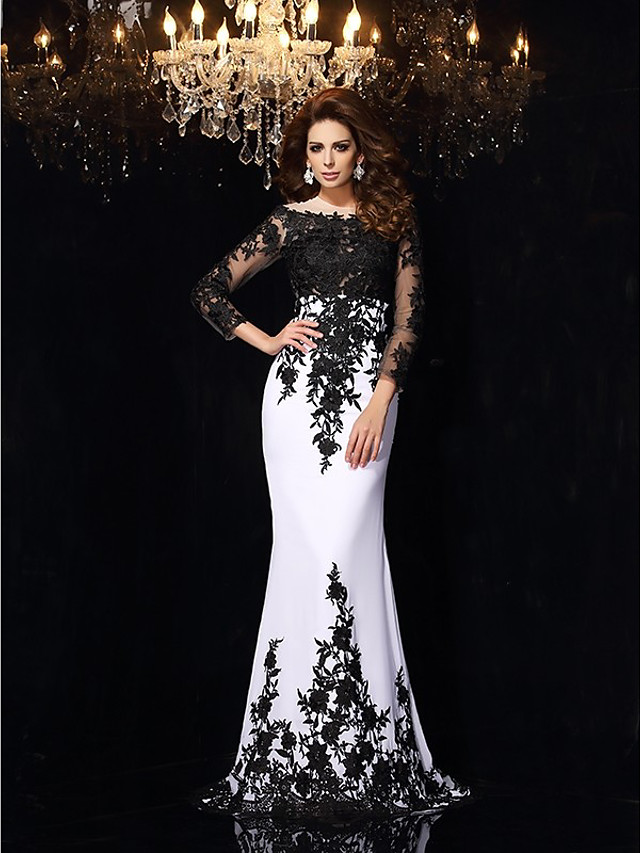 Mermaid / Trumpet White Black Engagement Formal Evening Dress Boat Neck 3/4 Length Sleeve Court Train Chiffon with Appliques 2020