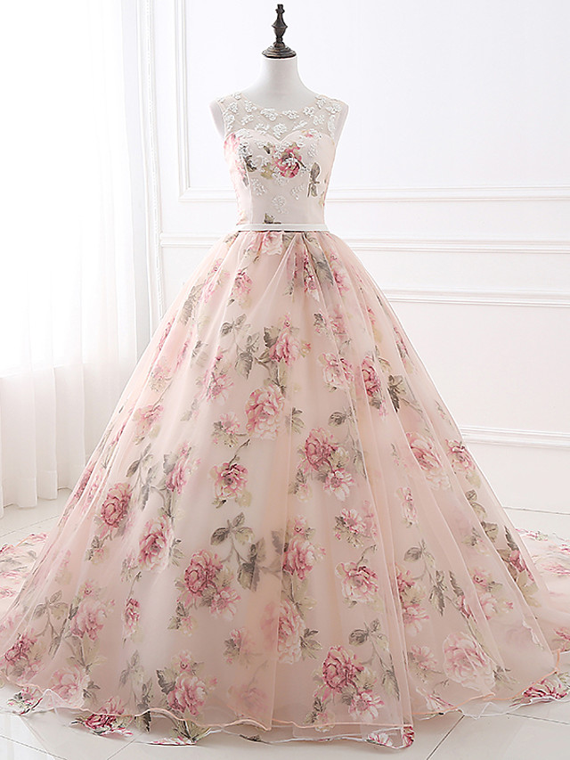 Ball Gown Floral Pink Quinceanera Formal Evening Dress Illusion Neck Sleeveless Chapel Train Satin Tulle with Beading Pattern / Print Appliques 2020