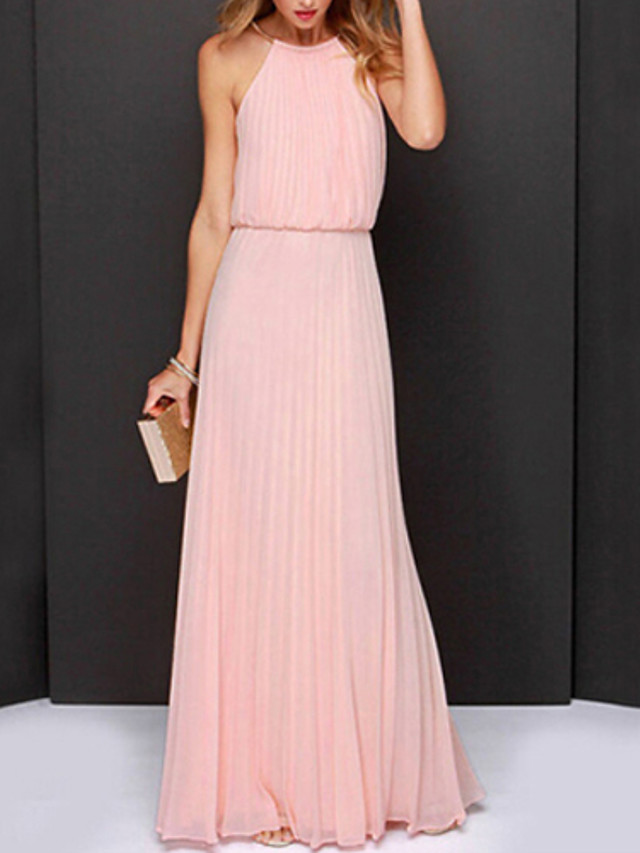 Women's Maxi long Dress Dusty Rose Swing Dress - Sleeveless Solid Colored Pleated Summer Halter Neck Sophisticated Cocktail Party Prom Belt Not Included Loose White Black Light Green Pink S M L XL XXL