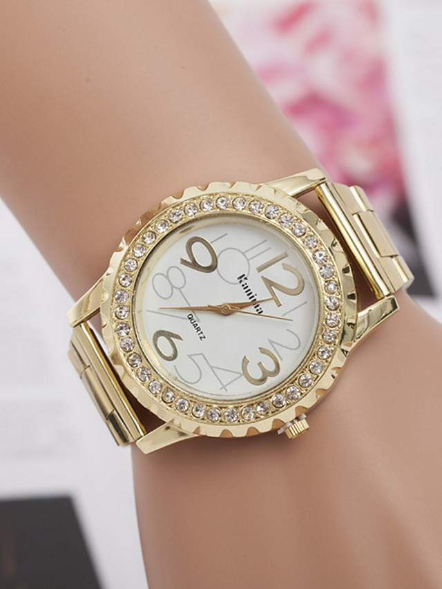 Women's Dress Watch Quartz Stainless Steel Imitation Diamond Analog Classic - Gold Silver Pink