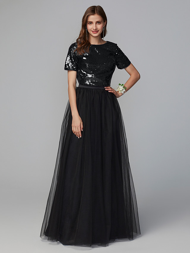 A-Line Jewel Neck Floor Length Tulle / Sequined Bridesmaid Dress with Sequin / Sparkle & Shine