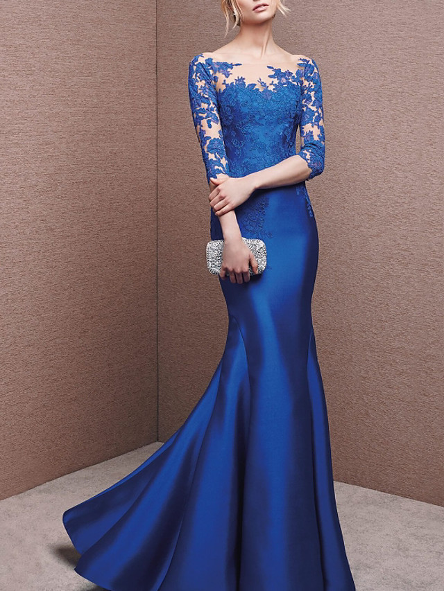 Mermaid / Trumpet Beautiful Back Blue Engagement Formal Evening Dress Illusion Neck Half Sleeve Floor Length Lace Charmeuse with Buttons Appliques 2020