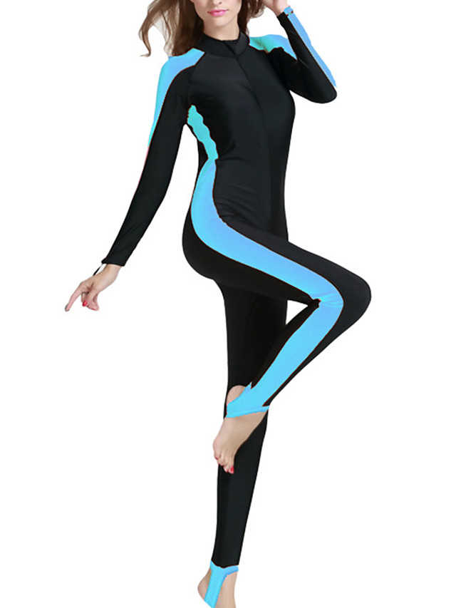 SBART Women's Rash Guard Dive Skin Suit Spandex Diving Suit SPF50 UV Sun Protection Quick Dry Long Sleeve Front Zip - Swimming Diving Surfing Patchwork / Full Body