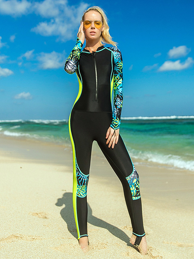 SBART Women's Rash Guard Dive Skin Suit Nylon Diving Suit UV Sun Protection Quick Dry Stretchy Full Body Front Zip - Swimming Surfing Snorkeling Leaves Print Spring, Fall, Winter, Summer