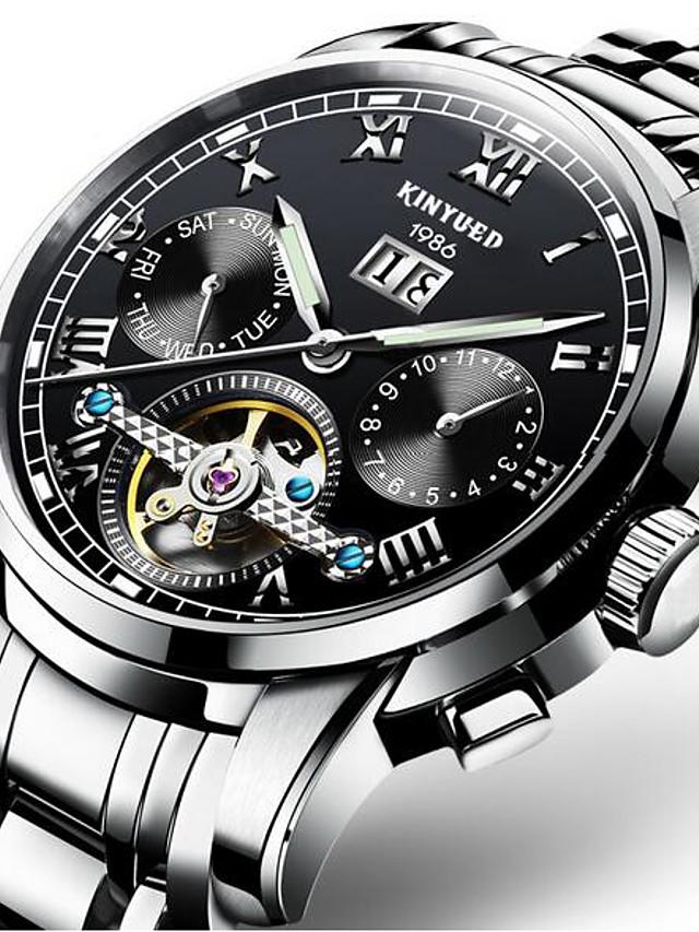 KINYUED Homens Relógio Esqueleto relógio mecânico Automático - da corda automáticamente Luxo Impermeável Preta / Prata Dourado / Branco Dourado Preto / Azul / Aço Inoxidável / Calendário