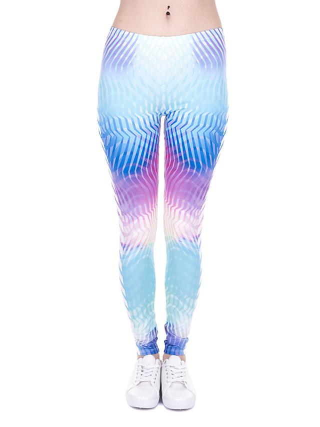 여성용 민첩 편안한 스포츠 체육관 요가 레깅스 바지 패턴 발목 길이 프린트 밝은 블루