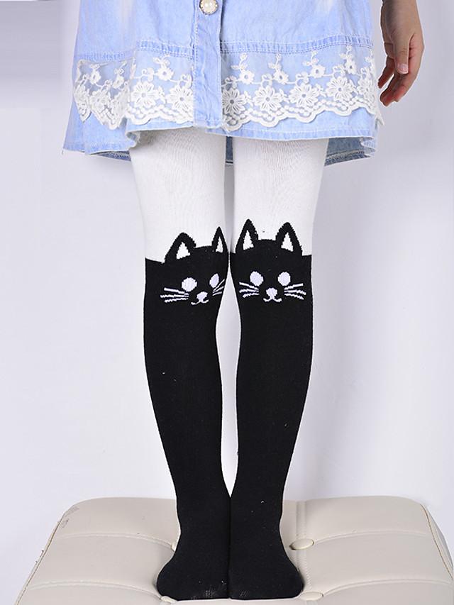 Infantil Para Meninas Estampado Estampado Leggings Branco