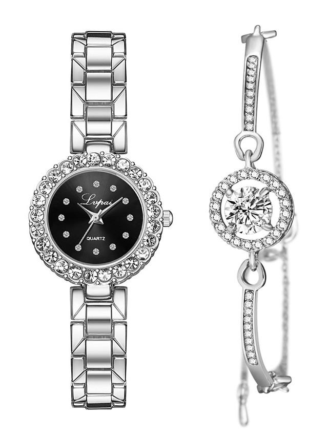 Women's Quartz Watches Quartz Stylish Fashion Adorable Silver / Rose Gold Analog - Golden+Black Golden+White Silver / Black One Year Battery Life