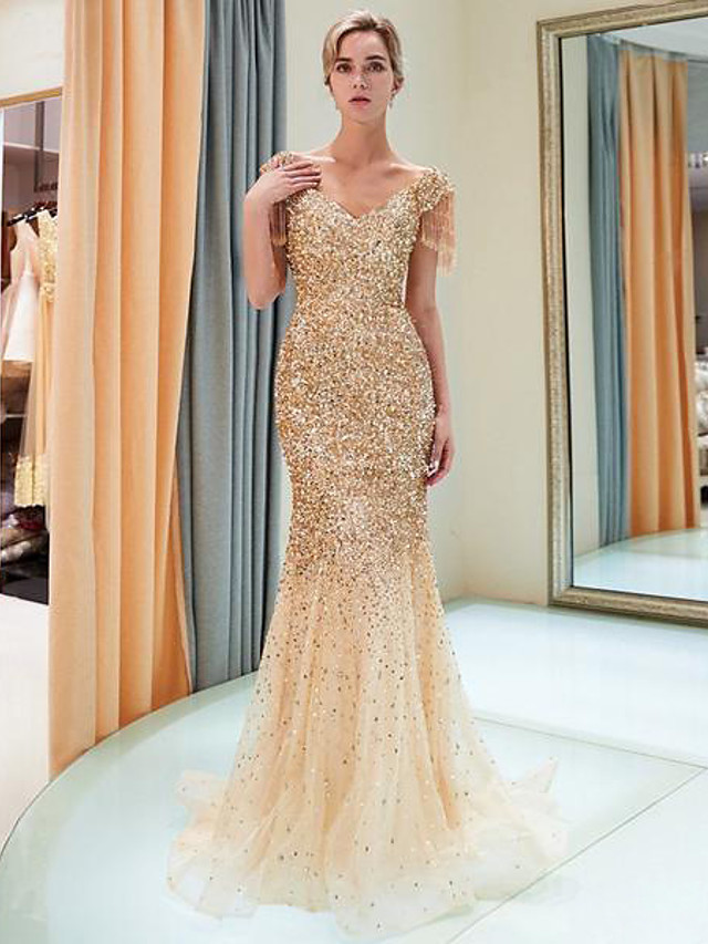 Mermaid / Trumpet Sparkle Gold Party Wear Formal Evening Dress V Neck Short Sleeve Sweep / Brush Train Tulle Sequined Polyester with Sequin 2020