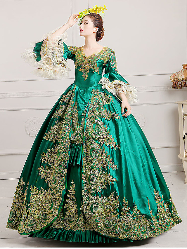 Marie Antoinette Rococo 18th Century Dress Ball Gown Women's Lace Satin Costume Burgundy / Green / Royal Blue Vintage Cosplay Party Prom Floor Length Ball Gown Plus Size Customized