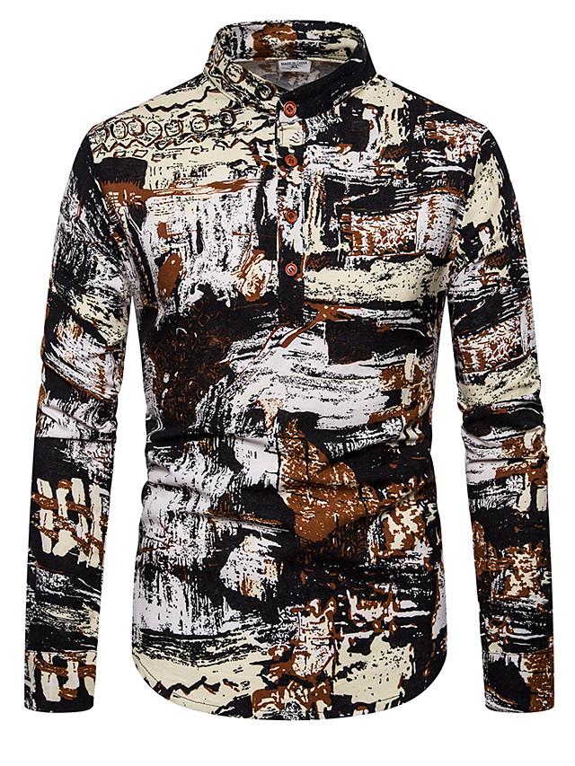 Men's Daily Shirt Color Block Long Sleeve Tops Basic Rainbow