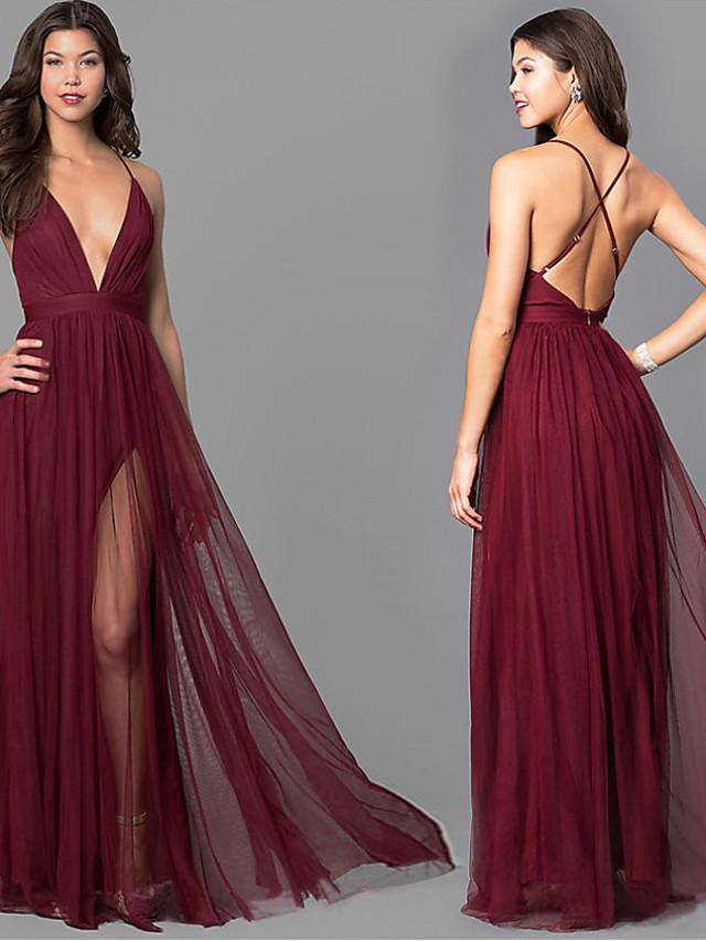 Burgundy Dress Beautiful Back Wedding S M