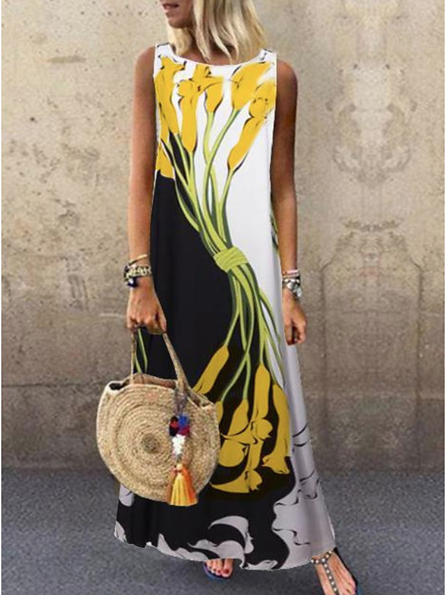 Women's Plus Size Maxi Dress - Sleeveless Floral Print Spring & Summer Casual Holiday Vacation 2020 White Yellow S M L XL XXL XXXL XXXXL XXXXXL