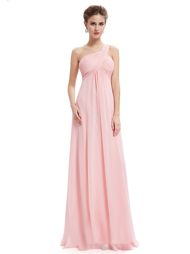 A-Line Elegant Prom Dress One Shoulder Sleeveless Floor Length Chiffon with Ruched 2020