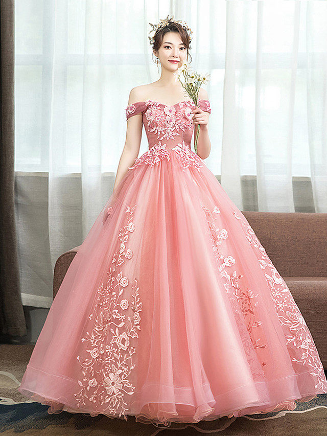 Ball Gown Floral Pink Quinceanera Prom Dress Off Shoulder Sleeveless Floor Length Tulle with Pattern / Print Appliques 2020