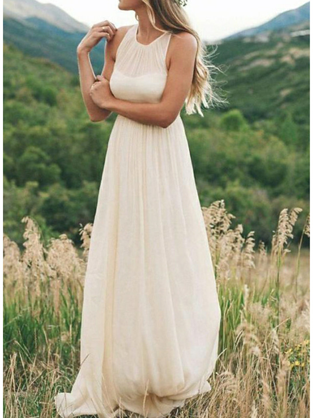 A-Line Wedding Dresses Jewel Neck Sweep / Brush Train Chiffon Regular Straps Country Simple Casual Plus Size with Draping 2020
