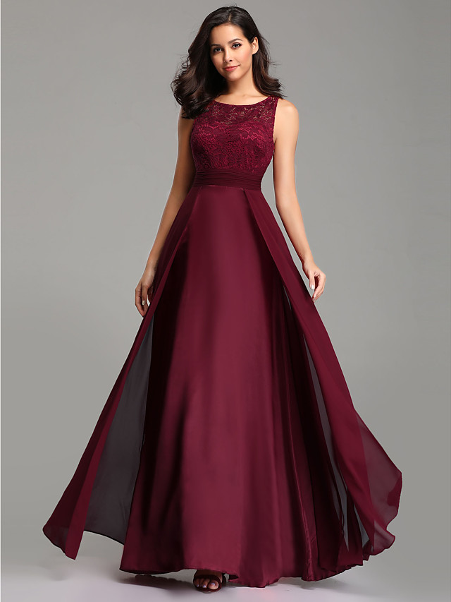 A-Line Empire Red Wedding Guest Prom Dress Jewel Neck Sleeveless Floor Length Chiffon Lace with Overskirt Lace Insert 2020