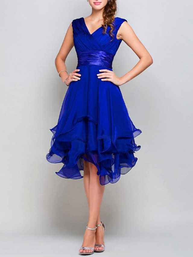 A-Line Hot Blue Wedding Guest Cocktail Party Dress V Neck Sleeveless Asymmetrical Chiffon with Tier 2020