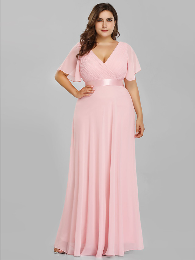A-Line Empire Plus Size Prom Formal Evening Dress V Neck Short Sleeve Floor Length Chiffon Satin with Pleats Ruched 2020
