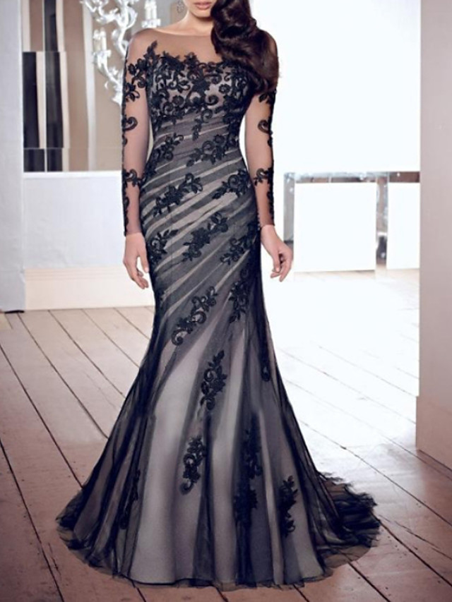 Mermaid / Trumpet Beautiful Back Formal Evening Dress Boat Neck Long Sleeve Sweep / Brush Train Lace Tulle with Appliques 2020