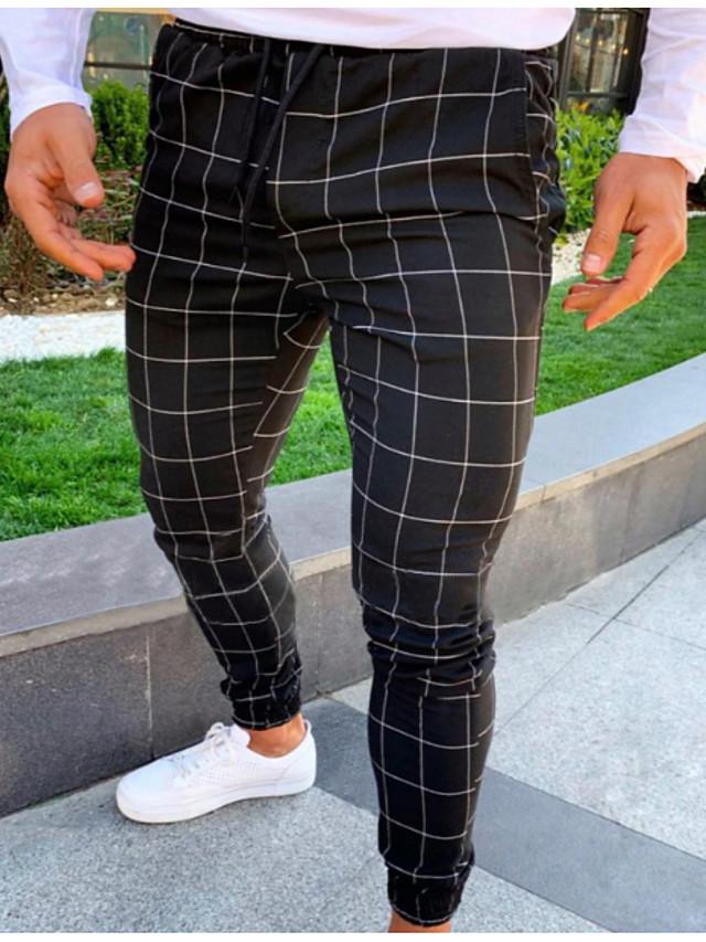 Hombre Basico Delgado Jogger Pantalones De Deporte Pantalones Cuadros A Cuadros Longitud Total Correa Negro Gris Claro Gris Oscuro 7624860 2020 19 75