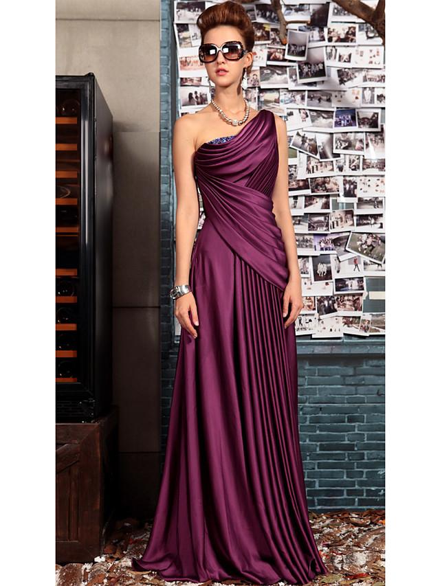 Sheath / Column Elegant Purple Wedding Guest Formal Evening Dress One Shoulder Sleeveless Floor Length Satin with Pleats Crystals Draping 2020