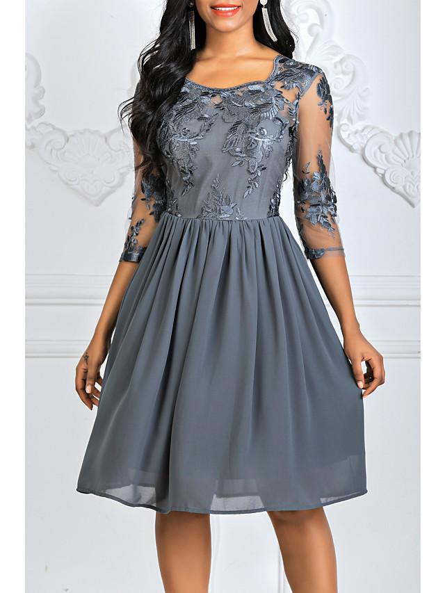 Women's A Line Dress - 3/4 Length Sleeve Floral Lace Square Neck Wine Blue Gray S M L XL XXL