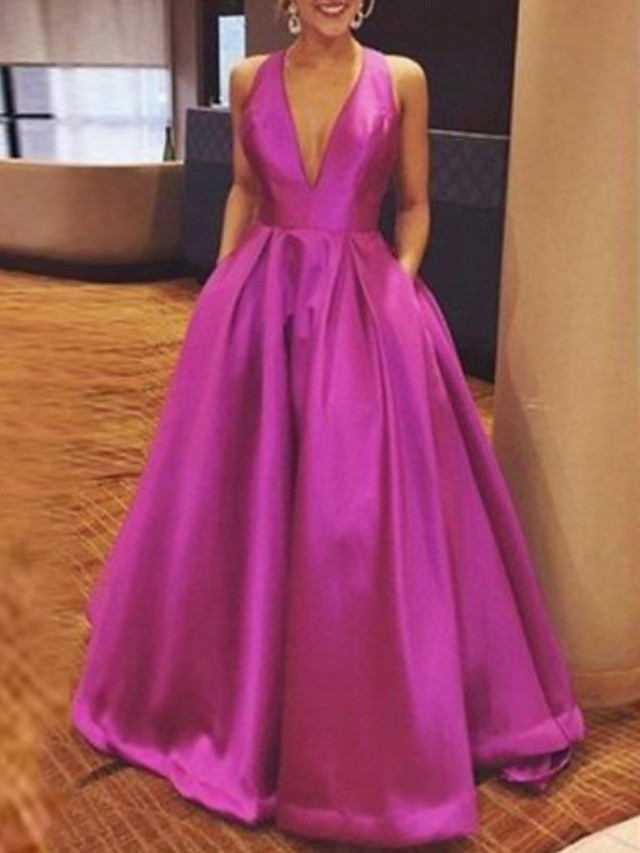 A-Line Beautiful Back Formal Evening Dress Plunging Neck Sleeveless Floor Length Satin with Bow(s) Pleats 2020