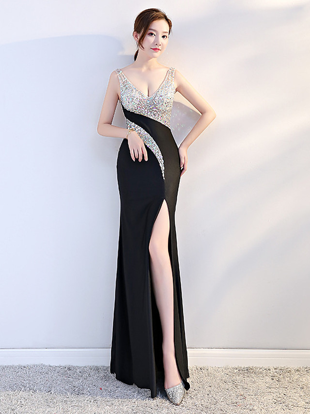 Sheath / Column Sparkle Black Party Wear Formal Evening Dress V Neck Sleeveless Floor Length Stretch Satin with Sequin Split 2020