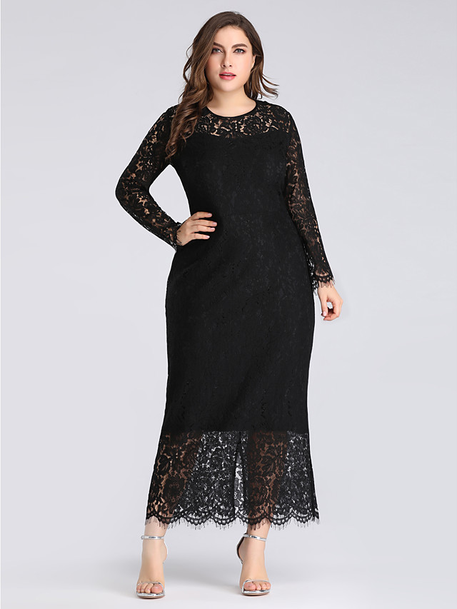 Sheath / Column Plus Size Black Wedding Guest Formal Evening Dress Jewel Neck Long Sleeve Ankle Length Lace with Lace Insert 2020