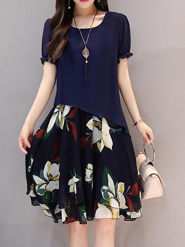 Women's Plus Size Blue Black Dress Chiffon Floral M L