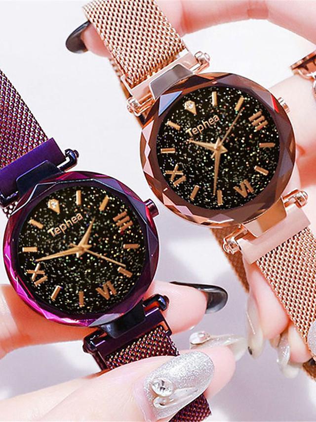 Women's Wrist Watch Quartz Watches Quartz Formal Style Vintage Style Elegant Casual Watch Stainless Steel Black / Blue / Purple Analog - Rose Gold Black Blue One Year Battery Life