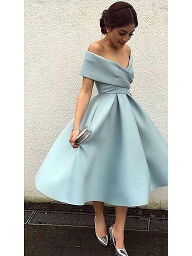 A-Line Elegant Blue Cocktail Party Formal Evening Dress V Neck Short Sleeve Tea Length Matte Satin with Pleats 2020