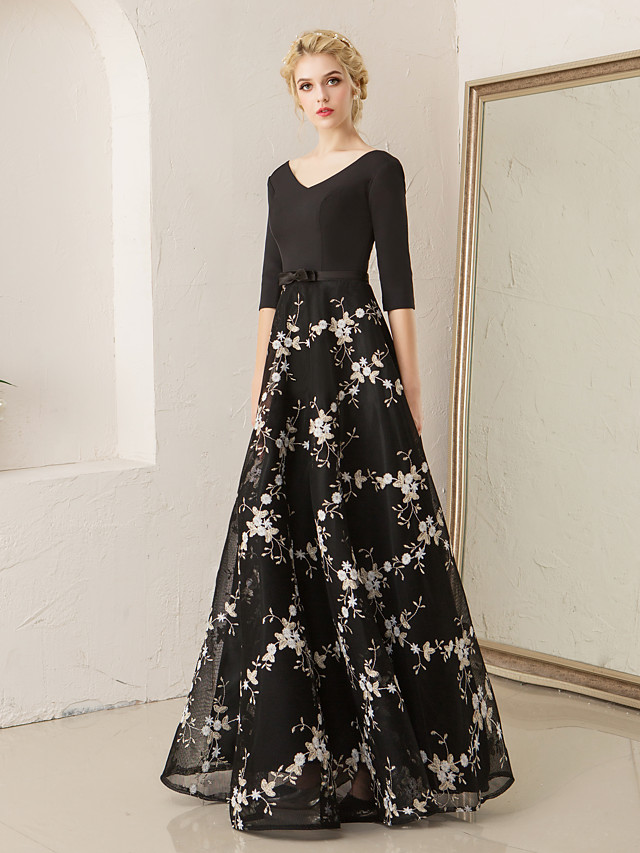 A-Line Floral Black Wedding Guest Formal Evening Dress V Neck Half Sleeve Floor Length Lace Spandex with Embroidery Pattern / Print 2020