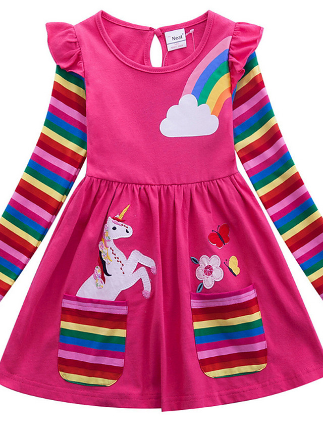Kids Girls' Active Casual Unicorn Floral Stripe Rainbow Animal Print Long Sleeve Above Knee Cotton Dress Blue