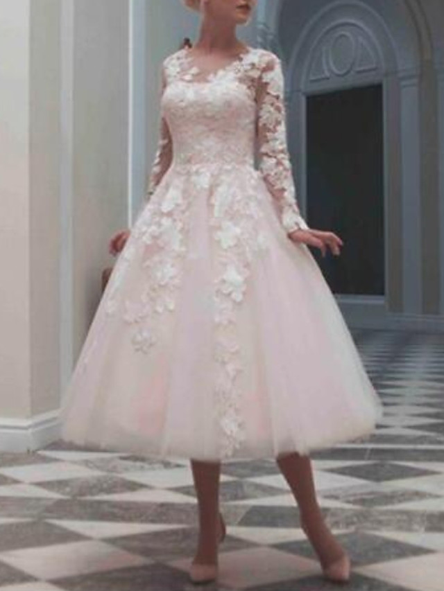 Ball Gown Wedding Dresses Jewel Neck Tea Length Lace Tulle Long Sleeve Casual Vintage Little White Dress See-Through Cute with Beading Appliques 2020