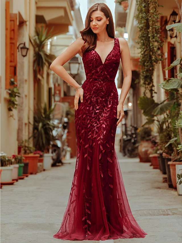 Mermaid / Trumpet Sparkle Red Wedding Guest Formal Evening Dress V Neck Sleeveless Floor Length Tulle Sequined with Sequin Appliques 2020