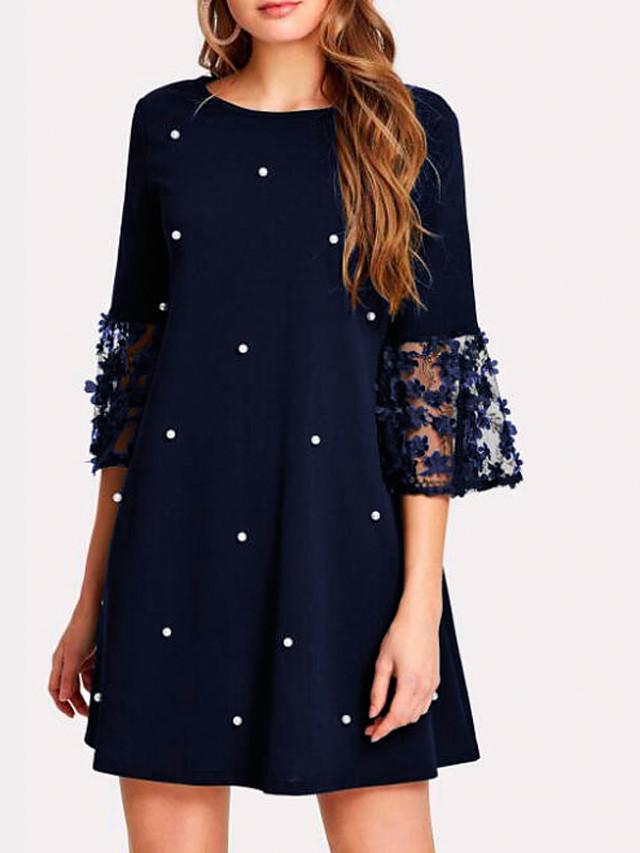Women's Shift Dress - 3/4 Length Sleeve Solid Colored Lace Patchwork Elegant Belt Not Included Slim Black Red Navy Blue S M L XL XXL XXXL XXXXL XXXXXL
