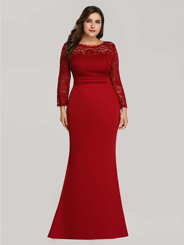 Mermaid Trumpet Plus Size Red Wedding Guest Formal Evening Dress Illusion Neck Long Sleeve Floor Length Lace Jersey Floral Lace With Lace Insert 2020 Illusion Sleeve 7605826 2020 53 99,Beach Wedding Mother Of The Bride Beach Dresses 2020