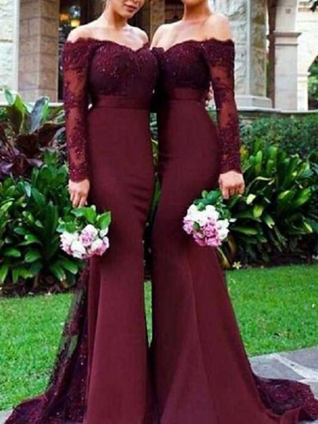 Mermaid / Trumpet Off Shoulder Sweep / Brush Train Chiffon / Lace Bridesmaid Dress with Lace