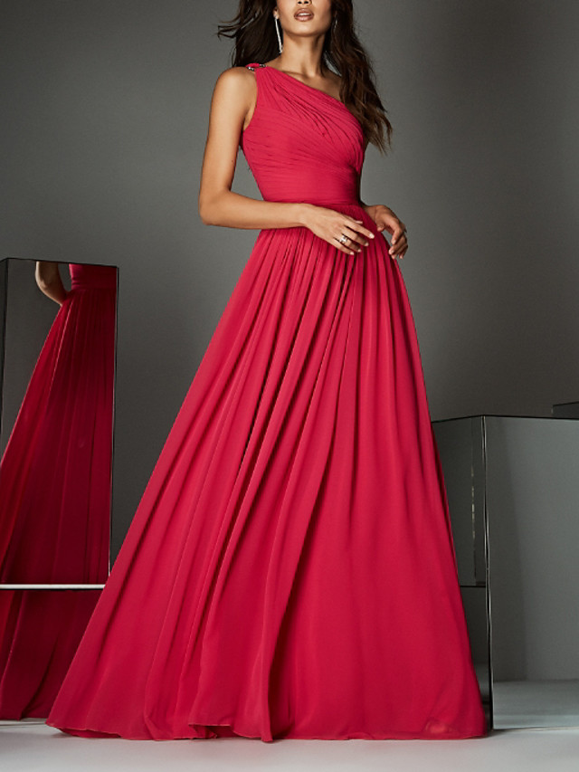 A-Line Empire Red Wedding Guest Formal Evening Dress One Shoulder Sleeveless Sweep / Brush Train Chiffon with Pleats Ruched 2020