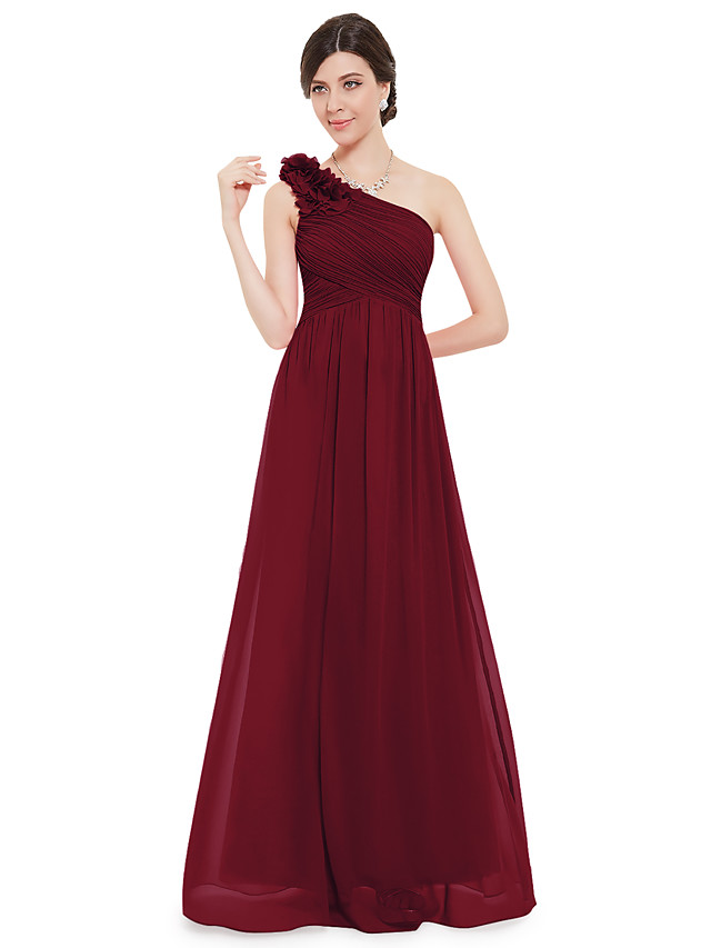 A-Line Empire Red Wedding Guest Formal Evening Dress One Shoulder Sleeveless Floor Length Chiffon with Appliques 2020