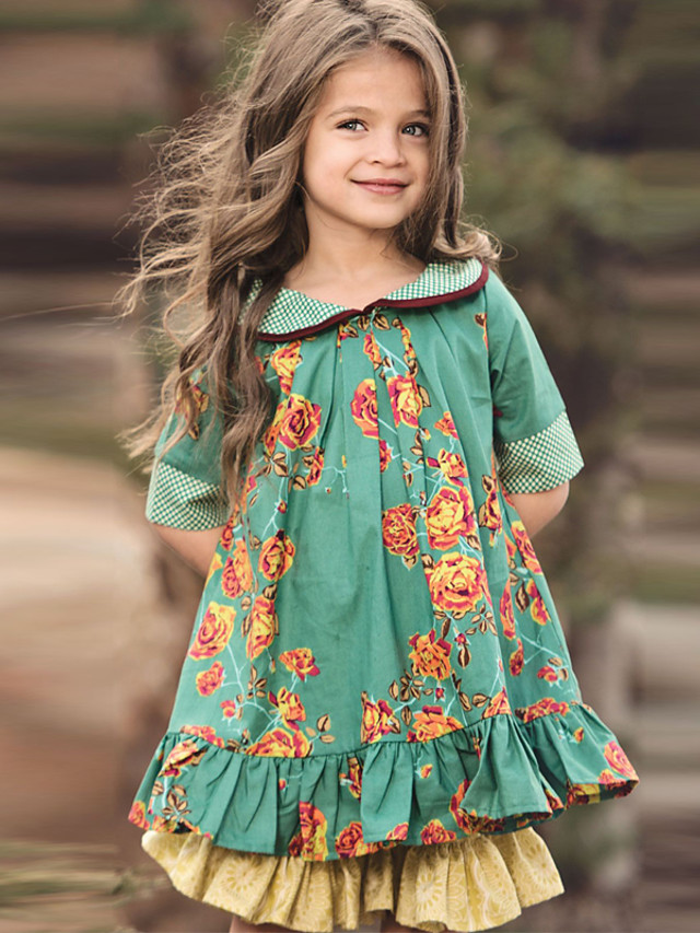 Kids Girls' Dress Floral Cotton Half Sleeve Knee-length Cute Dresses Regular Fit Green