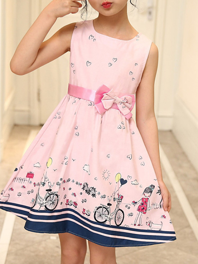 Kids Girls' Active Geometric Print Sleeveless Above Knee Dress Blushing Pink