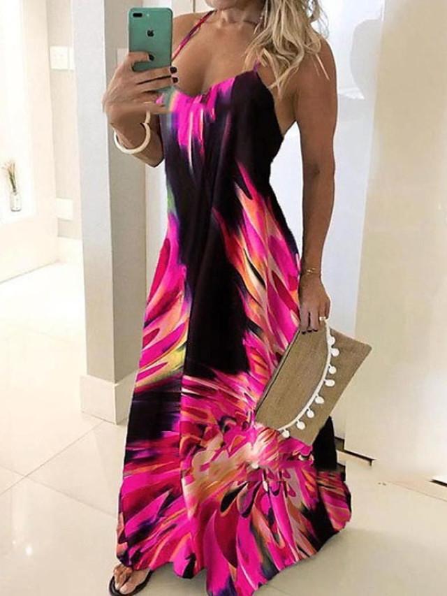 Women's Plus Size Maxi Dress - Sleeveless Floral Print Summer Casual Holiday Vacation Beach Slim 2020 Blue Red Fuchsia Green Gray S M L XL XXL XXXL XXXXL XXXXXL